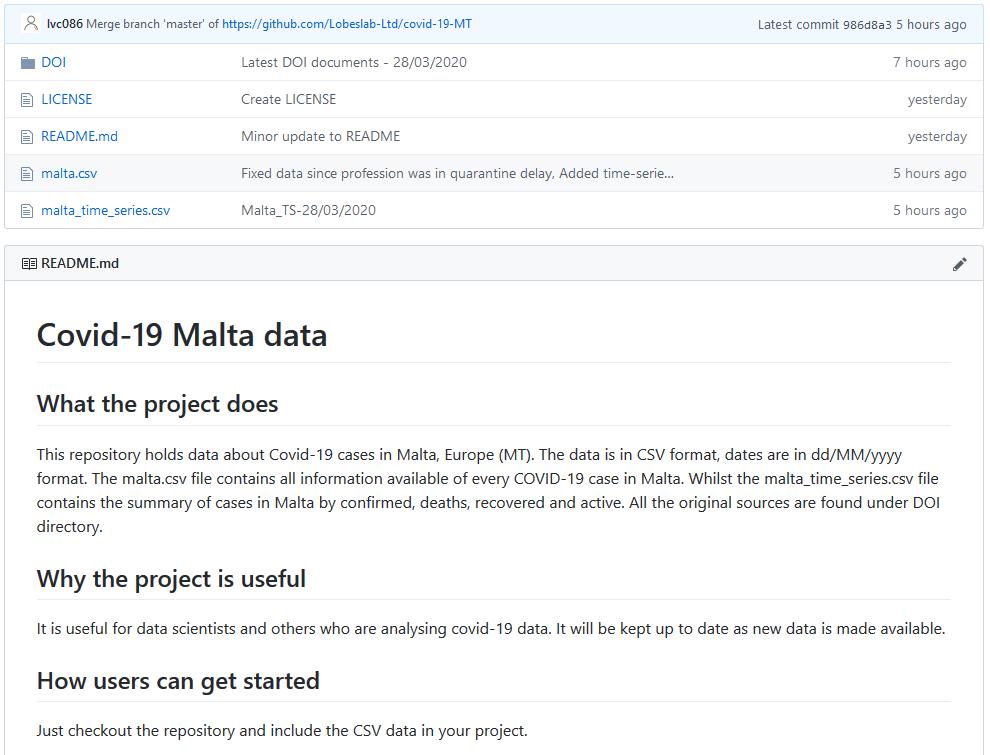 COVID-19 Malta data set
